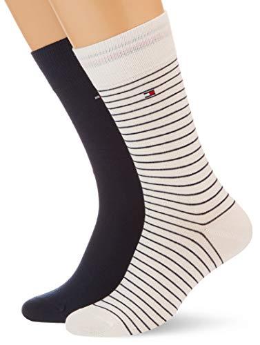 Tommy Hilfiger Mens Small Stripe Men's (2 Pack) Socks, White Combo, 43/46