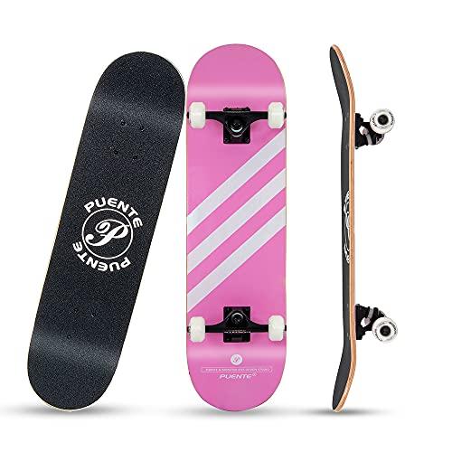 スケートボード こども用スケボー 31インチコンプリートスケボーデッキ 8層カエデ材スケボー ABEC9製ベアリング 95Aウィール採用 集中力や平衡感覚育成 初心者/大人/若者/子供用 YouFu提供(ピンク)