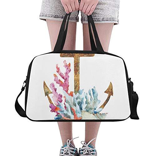 Kunst-Anker-Symbol Symbolisches Muster Benutzerdefinierte Große Yoga Gym Totes Fitness Handtaschen Reisen Seesäcke mit Schultergurt Schuhbeutel für die Übung Sport Gepäck für Mädchen Herren Damen