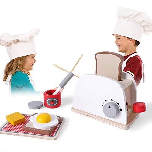 Boquite Hölzernes Toaster-Spielzeug, hölzernes Toaster-Kinderspielzeug täuschen Spiel-Küchen-Satz mit Zusätzen vor