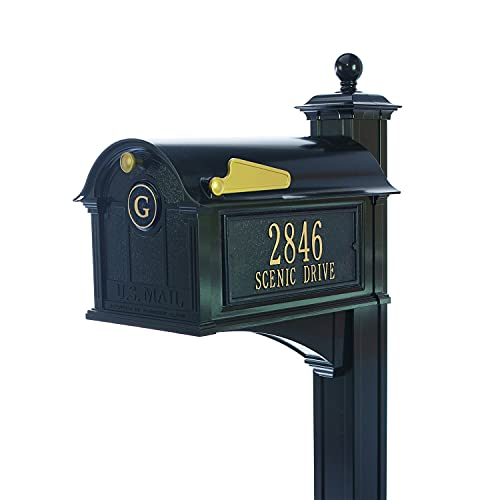 Whitehall Custom Balmoral Extra Large Mailbox with Monogram and Deluxe Side Mount Post Package - Sand Cast Aluminum - Black Personalized in Goldtone