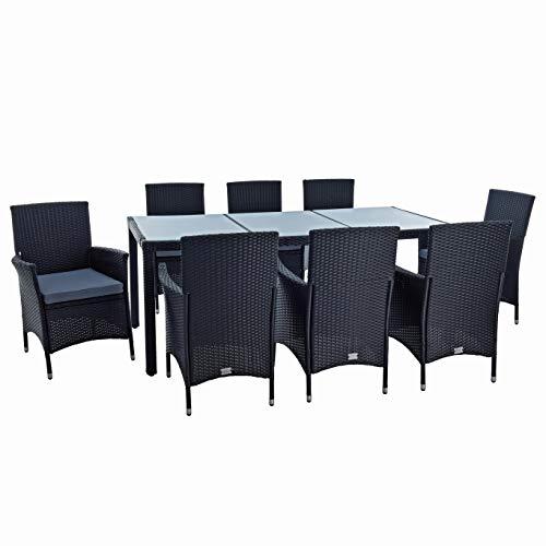 Estexo Polyrotan zitgroep tuinmeubelen set voor 8 personen, rotan meubels tuinset rotan eetgroep tuinstoelen tuintafel kruk stoel met kussen zwart