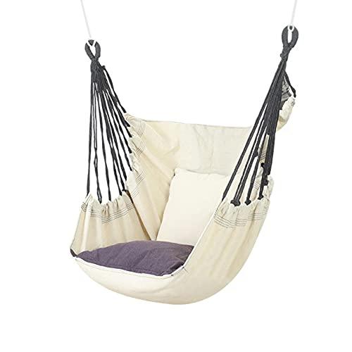 libelyef Hamaca de lona, silla colgante grande con cojines para interior/exterior, dormitorio, dormitorio de estudiante, patio