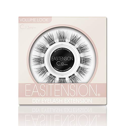 DIY Eyelash Extension, 3D Effect Glue Bonded Band Individual Lash 12 Clusters Volume Lashes Set, Home Eyelash Extension, C curl Lashes Pack(12MM)