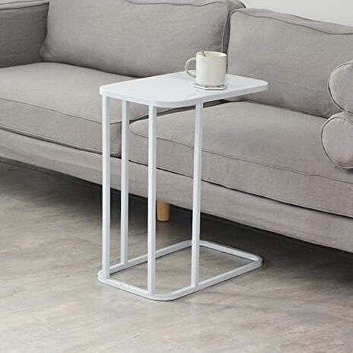 Salontafel, tv-meubel, telefoonmeubel, bijzettafel, eikenhout, stalen frame met bank, 19,6 x 11,8 x 22,8 inch Wit.