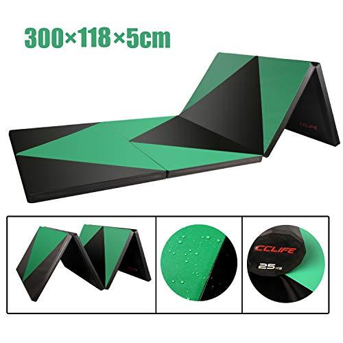 CCLIFE Turnmatte Weichbodenmatte Klappbar für zuhause Fitnessmatte Gymnastikmatte rutschfeste Sportmatte Spielmatte, Farbe:Schwarz&Grün