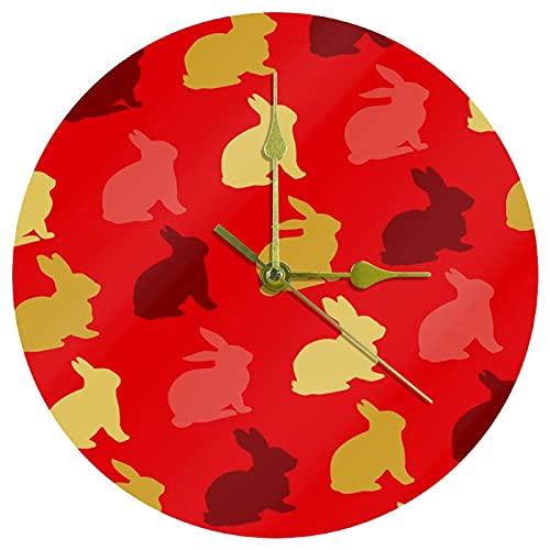 Yoliveya Reloj de pared redondo Silencioso Conejito Silueta Patrón Fondo Rojo Decorativo No Ticking Quiet Reloj para Regalo Hogar Oficina Cocina Guardería Sala Dormitorio 25cm