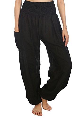 LOFBAZ Harem Pants for Women Yoga Boho Hippie Clothing Womens Palazzo Bohemian Pajama Beach Indian Gypsy Genie Clothes Solid 1 Black M