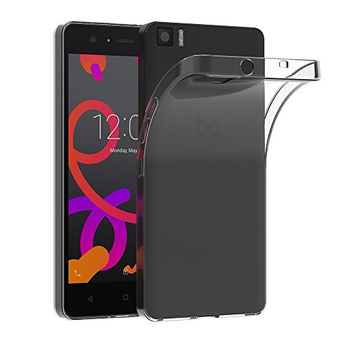 FUNDA TPU PARA MOVIL BQ AQUARIS M5, CARCASA PROTECTORA GEL ULTRAFINA TRANSPARENTE
