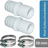 Raccordo per tubo flessibile Pangea Tech 2X Ø 38 mm con fascette stringitubo 1 1/2 '- adattatore per tubo piscina - doppio ugello per tubo 2 pezzi