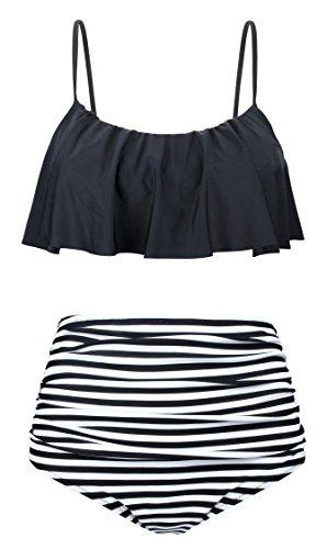 Angerella Femmes Volants Maillot de Bain Mignon Bikini, Noir, EU40-42=Tag Size XL
