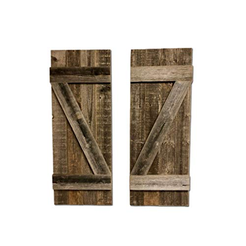 BarnwoodUSA | Rustic Farmhouse Window Shutters (Set of 2) | Made of 100% Reclaimed and Recycled Wood | Rustic Interior Window Shutters | Traditional Country Style Home Décor