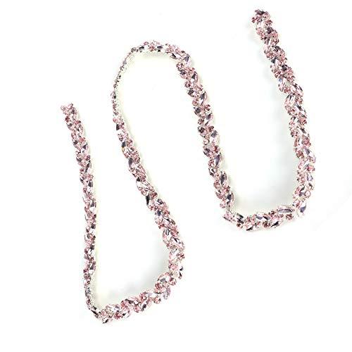 Cadena De Diamantes De Vidrio, Cadena De Flores De Ojo De Caballo, Alta Definición Para Ropa, Vestidos De Novia, Muebles, Pulseras, Sombreros, Collares(rosado)