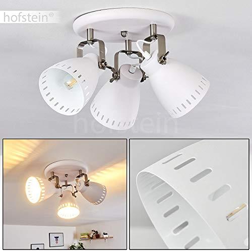 Deckenleuchte Vlissingen, runde Deckenlampe aus Metall in Weiß, 3-flammig, 3 x E27-Fassung max. 60 Watt, verstellbarer Spot im Industrial-Style mit Lichteffekt, Retro/Vintage-Design, LED geeignet