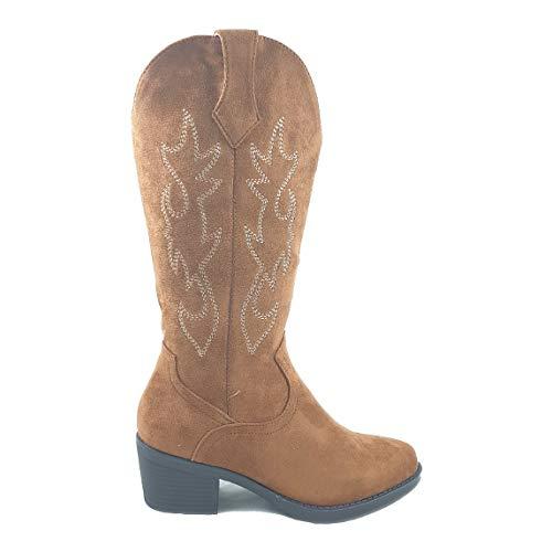 Timbos Zapatos - 123032 Bota Tejana para Mujer, Color Camel, Material Bamara, Colección Invierno