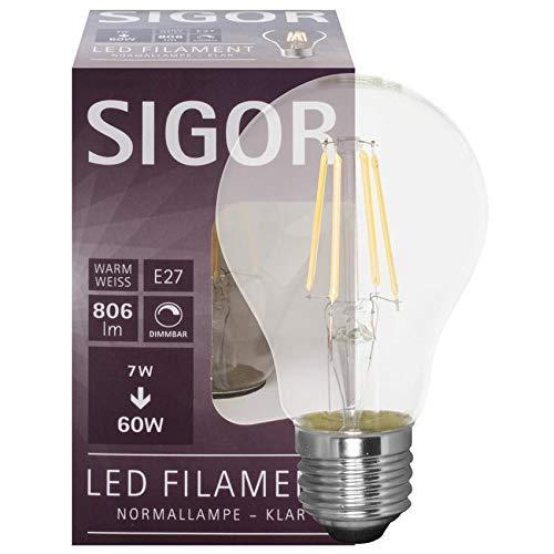 SIGOR 9019600117 - Bombilla LED de filamento (forma AGL, E27, 7 W, 806 lm, 2700 K, L 103, diámetro de 60 mm)