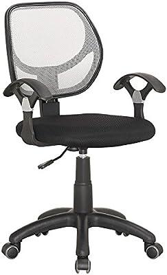 Mobilier Deco Silla de Oficina/Silla de Oficina Negro y Gris Tejido/Asiento de