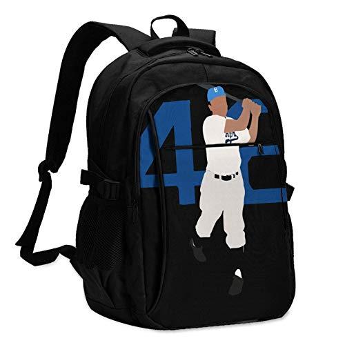 Travel Laptop Backpack, Jackie Robinson '42' Travel Laptop Backpack School Bag Outsdoors Sling Bag with USB Charging Port AntiTheft Men's and Women's Backpacks