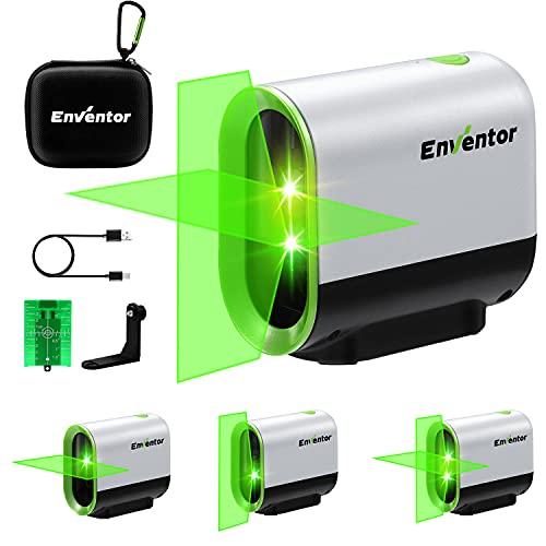 Nivel Láser Verde de 50M, Nivel Láser Autonivelante ENVENTOR, 3 Modos(Autonivelación, Manual y de Pulso), Montaje Magnético de Base de 360°, Carga USB y Batería de Litio, IP54, para Exterior