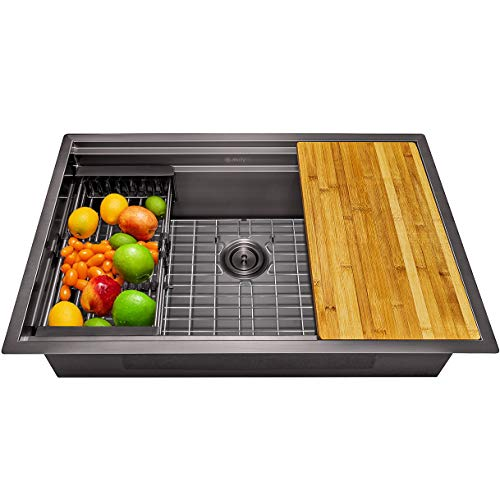 AKDY 32-inch Kitchen Sink Workstation Ledge Kitchen Sink in Matte Black 32' x 18' x 9' Stainless Steel Single Bowl with Drying Rack & Cutting Board