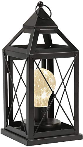 Circleware Lantern Metal Cage Style Desk, Table, or Hanging Lamp - Cordless Accent Light with LED Bulb - 10.25' High