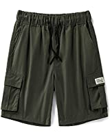 LTIFONE Men's Cargo Short Casual Elastic Premium Waist Relaxed Outdoor Summer Shorts with Pockets(Army Green,M)