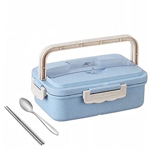 DFGDFG Caja de Almuerzo de Paja de Trigo Moda Creativa Microondas Sellado Tapa Tapa Vajilla Contenedor de Alimentos Multifuncional celosía Durable Bento Box (Color : Stainless Steel B)