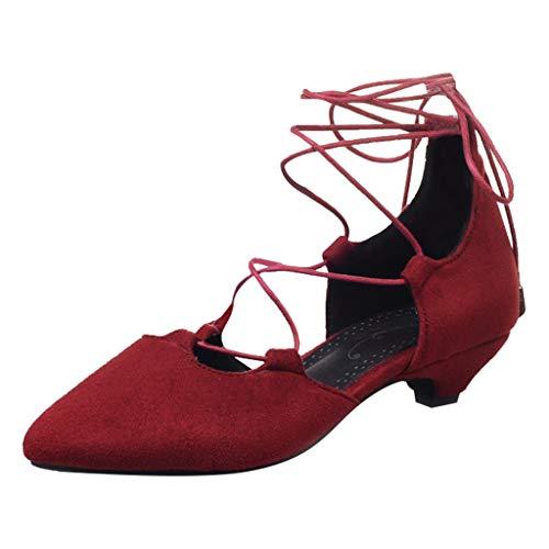 Dorical Damen Standard- & Latintanzschuhe Tanzschuhe Damenschuhe Bequem Übergroße Schnürhalbschuh Damenstiefel Gr 35-43(Rot,42 EU)