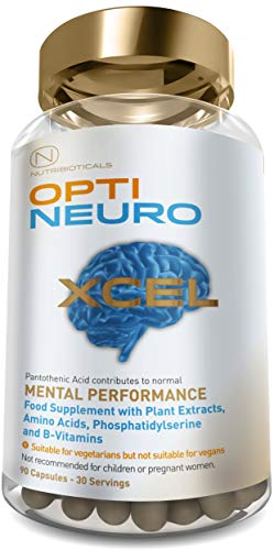 New Optineuro Xcel for Mental Performance | Caffeine Free with Extra Phosphatidylserine, Ashwagandha and Lion's Mane | #1 Top Rated Nootropics | Strongest Brand on The Market | 90 Capsules