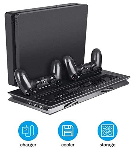 Welltop Ventilateur du Refroidissement pour PS4 Support Vertical Stand pour / PS4 Slim / PS4 Pro Station de Recharge avec indicateur LED, station de chargement de contrôleur, 3 ports USB