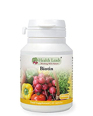 Biotin (Vitamin B7) 1000mcg x 60 capsules (Magnesium Stearate Free) from Health Leads UK
