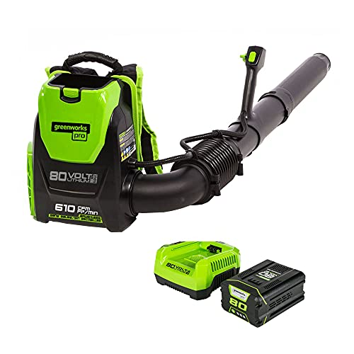 Product Image of the Greenworks Pro 80V (180 MPH / 610 CFM) Cordless Backpack Leaf Blower, 2.5Ah Battery and Charger Included BPB80L2510