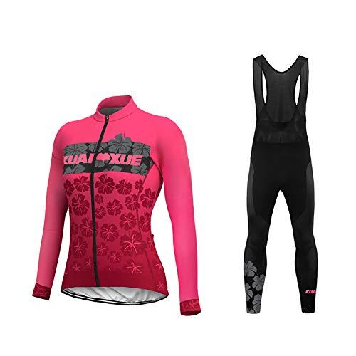 Uglyfrog 2019-2020 Funktions Fahrrad Winterbekleidung Damen Fahrrad Trikot Langarm Warmes with Fleece Rennrad Element Jersey/Bib Lange Hosen Anzüge