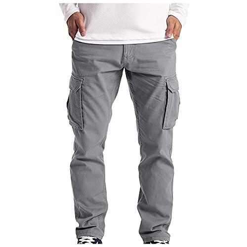 YANFANG Pantalones Casuales Rectos con MúLtiples Bolsillos De Verano para Hombre Mono,Malla Primavera/Verano, Gimnasia VentilacióN Completa Deporte Informal,Gray,XL
