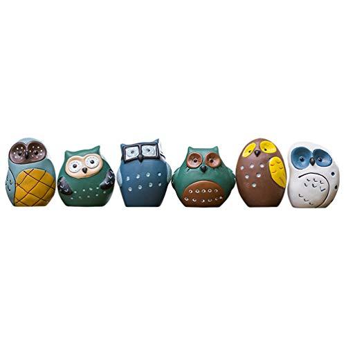 Exceart 6 Stks Miniatuur Uil Beeldjes Fee Tuin Dier Desktop Ornament Diy Geschenk Poppenhuis Kantoor Aan Huis Decor Levert