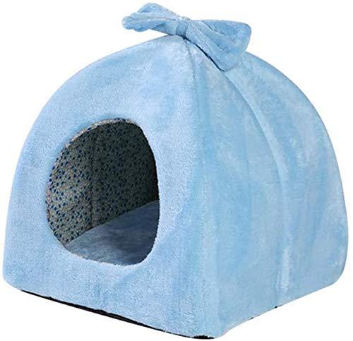 YAOSHUYANG Cama para mascotas, cama para perro, cama totalmente cerrada, caseta de invierno, cálida mascota, sofá para perros pequeños y gatos, color rosa, talla S (color: azul, talla pequeña)