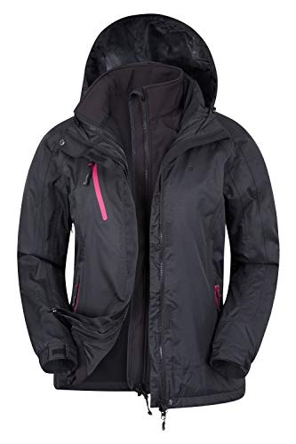Mountain Warehouse Bracken Wasserfeste 3 in 1 Damen Winterjacke, Warmer Fleecejacke, Regenjacke, Damenjacke, Funktionsjacke, Allwetterjacke Schwarz 44