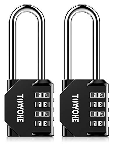 Combination Lock, TOWOKE 2 Pack 2.5 Inch Combo Locks, 4 Digit Long Shackle Waterproof Padlocks for Outdoor Use, Fence, Backyard Gate, Gym Locker, Shed, Hasp Storage, Black