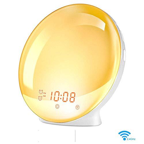 Smart LED-Wecker mit WiFi-Sprachsteuerung, natürliches Wake-Schlaflicht, Nachttischlampe, bunte Atmosphäre, Nachtlicht, App-Steuerung