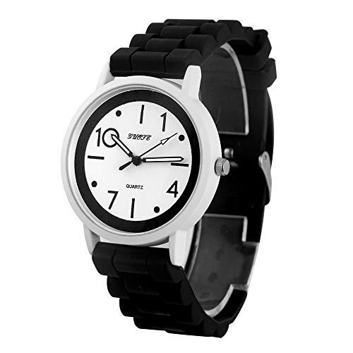 Relojes De Silicona Mujeres Hombres Deportes Gel De Gelatina Reloj De Pulsera De Cuarzo Analógico Reloj De Horas De Goma Unisex Relogio Reloj Blanco Negro