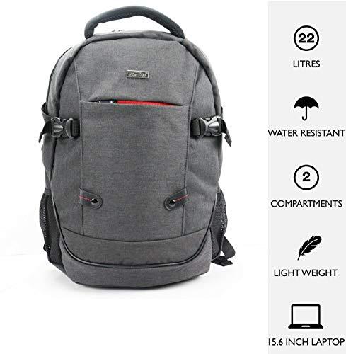 15.6' Laptop Backpack Lunch School Bag Case Padded Shoulder Bag Rucksack - Unisex - Charcoal Grey