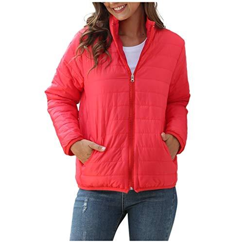 GOKOMO Damen Winter Warm Langarm Stehkragen Jacke Einfarbig Reißverschluss Mantel(Rot-1,XXXX-Large)