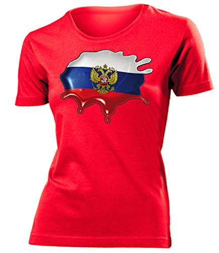 Russland ?????? Russia Fan t Shirt Artikel 6037 Fuss Ball World Cup Jersey EM 2020 WM 2022 Team Trikot Look Flagge Fahne Frauen Damen M