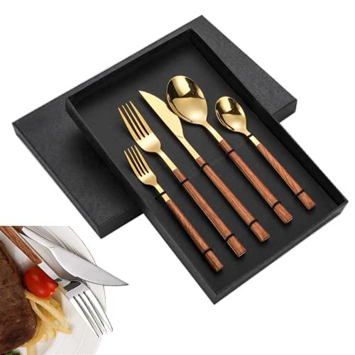 Set Cubiertos De 5 Piezas De Acero Inoxidable, Juego De Cubiertos De Acero Inoxidable Con Mango De Madera De , Apto Para Cocina Camping Picnic(Juego de 5 piezas dorado)
