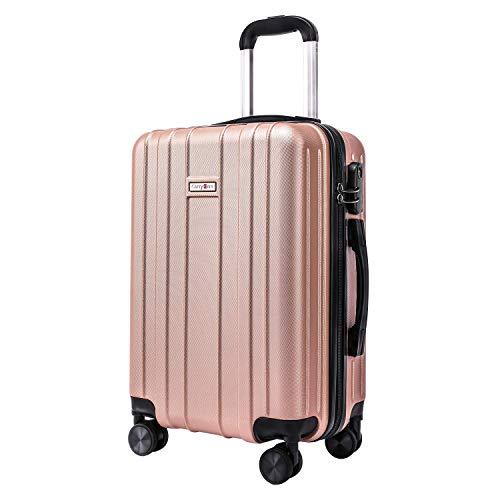CarryOne Maleta Superligera con 4 Ruedas Duales Giratorias | Garantía de Dos Años | Contraseña Cerradura Equipaje para Viajar TD3-Rosa-55CM