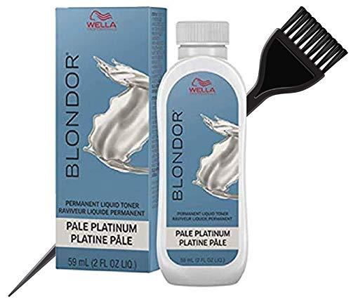 WeIla BLONDOR Permanent Liquid Hair TONER (w/Sleek Tint Brush) Haircolor Hair Color Dye (18 Pale Platinum)