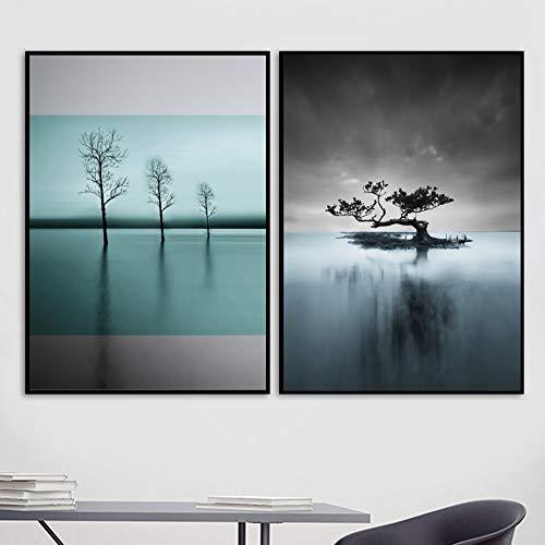 KWzEQ Ozean Wald Landschaft Leinwand Malerei Nordic Baum Wandkunst Poster und Drucke Wohnzimmer Schlafzimmer Dekoration-Rahmenlose Malerei80x105cmx2