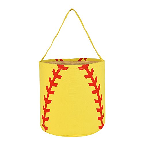 Easter Basket Cotton Easter Bunny Tote Bags Baseball Softball Design Personalized for Kids Carrying Gift and Eggs (Softball)