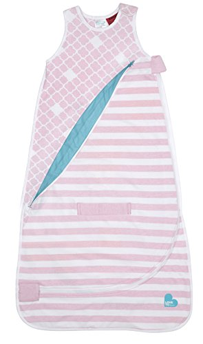 Love To Dream Inventa Lightweight Sleep Bag/Wearable Blanket with Unique Vented Cooling System, Luxurious Super-Soft Cotton, Stylish Fashion Design, 0.5 TOG, 4-12 Months, Light Pink