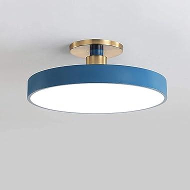 Design LED Plafonnier Bureau Salon Ronde Bleu Luminaire Dimmable avec Télécommande Lampe de Plafond Chambre à Coucher Cuisine